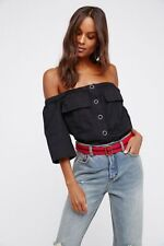 Free People Head Over Heels Top in Black Size Small NWT