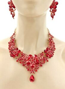 Floret Statement Evening Wedding Necklace Earrings Red Crystal Drag Queen Prom