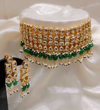 Studded With Kundan Pearl For Women Gold Plated Necklace Earrings Chic Set