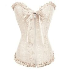 Sexy beige / apricot brocade steampunk overbust corset, zip fastening. size 8