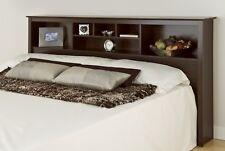 King Size Bed Bookcase Headboard - Espresso -NEW