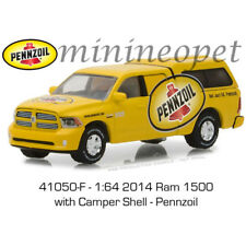 GREENLIGHT 41050 F 2014 DODGE RAM 1500 PICK UP with CAMPER SHELL 1/64 PENNZOIL