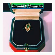 GENUINE MARQUISE EMERALD WITH DIAMONDS SET IN A 14K YELLOW-GOLD RING!