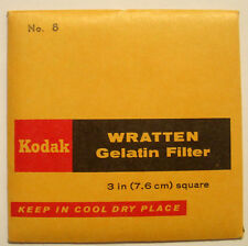 Kodak wratten GELATINA Filtro NO 8 7.6cm OR 75mm CUADRADO SIN ABRIR