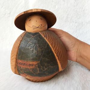 Japanese Vintage Sosaku Kokeshi Wooden Grain Round Fat Doll Wearing Hat Novelty