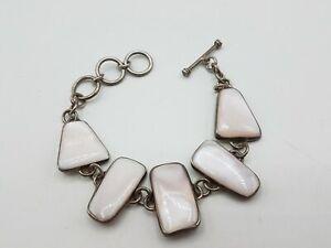 29.42g 925 Silver MOP Chain Link Bracelet 8.5 MRJ667