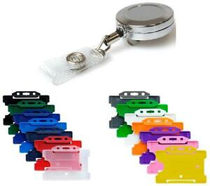 Retractable ID Card Badge Reel Chrome Metal Retractable & ID Card Pass Holder