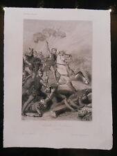 Gravure ancienne XIXe BATAILLE DE ROSEBECQUE 1382 JOHANNOT/MASSON
