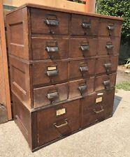 Vintage Industrial Yawman Erbe Card Catalog Drawer Stacking Filing Cabinet