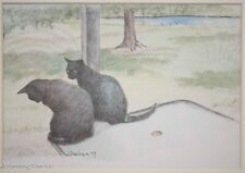 Beautiful Color Pencil Drawing of Two Black Cats Signed L. Bachem, Fine & Nice!