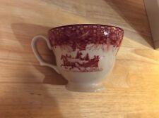 222 Fifth Poinsettia Toile Christmas Horse Sleigh Teacup Fine china