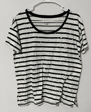American Eagle girls short sleeve striped blouse, silver/metallic accents, Small