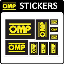 X/889 OMP RACING RALLY FAN DECAL SHEET x 9 OMP STICKERS for MOTORSPORT RACE CAR!