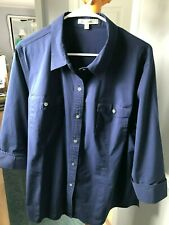 TravelSmith Button Down TUNIC Top Shirt  24W Blue 3/4 Sleeve and Pockets