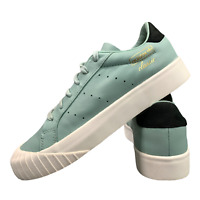 Adidas Everyn Women's Leather Shoes Size Uk 7 Green Casual Trainers EUR 40.5 BOX