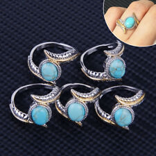 Oval Turquoise Gold 925 Silver Feather Ring Luxury Women Jewelry Gift Size 6-10