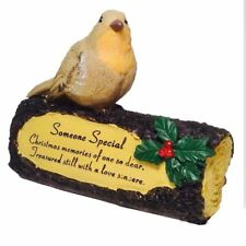 Robin On Log Memorial Someone Special Christmas Home Garden Or Grave Ornament