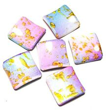 6 x Pink Turquoise Yellow Acrylic Square Beads Jewellery Making Crafts