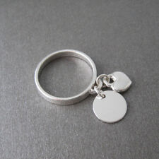 Bague anneau breloque pastille coeur en pampille argent 925 T. 54,56,58 BA84c