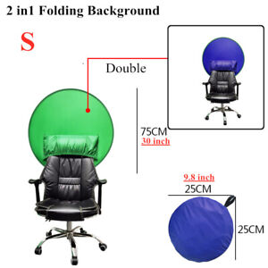 Double Round Green Blue Backdrop Photography Background Screen for Video Studio