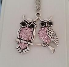 Halskette 55 cm Anhänger Eulenpaar Eule Uhu Kauz 3,5 cm Strass-Steine rosa *NEU*