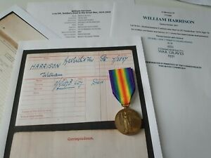 WW1 Victory Medal to Pte Harrison, 7th Northumberland Fusiliers, DOW, Ashington