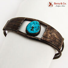 Old Pawn Cuff Bracelet Turquoise Inset Sterling Silver 1940