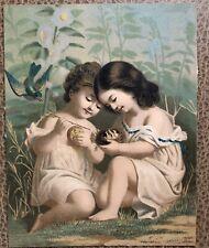"""Very Old Unique Antique Little Girls Blue Bird Babies Nest Color Print 7.5"""" X 5"""""""