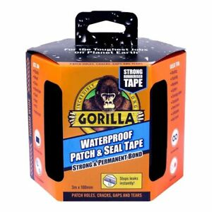 Gorilla Tape Waterproof Patch and Seal Strong and Permanent Bond 100mm x 3m