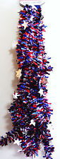 4TH OF JULY GARLAND PATRIOTIC 9FT GARLAND BRILLIANT RED SILVER & BLUE COLORS