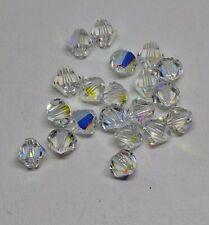 24pc Swarovski Crystal Clear AB 3mm Bicone 5328 Beads; Wedding Aurora Borealis