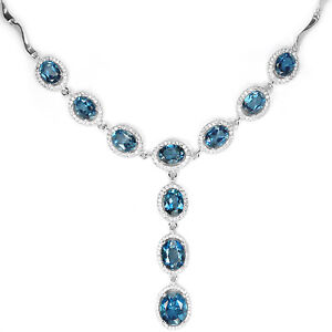 Necklace Genuine London Blue Topaz Sterling Silver Drop 17 3/4 to 19 3/4 Inch