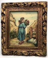Artini Sculptured Engraving Art 4 Dimensional Countryside Woman Gold Gilt Frame