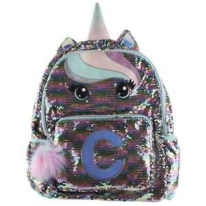 Justice Unicorn Flip Sequin C Initial School Backpack Book Bag for Girls