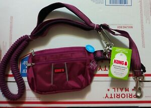 KONG HANDS FREE COMFORT REFLECTIVE LEASH W/ REMOVABLE POUCH MAROON