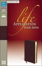 NIV, Life Application Study Bible, Personal Size, Bonded Leather, Burgundy, Red