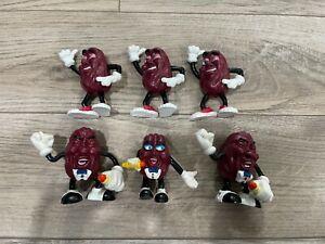 Vintage Late 80's California Raisins Small Figurines Toy Lot of 6