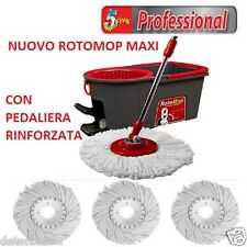 Rotomop Professionale Maxi + n.° 4 Mop Mocio Ricambio + Manico Acciaio