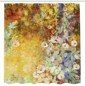 Floral Shower Curtain Leaves Decor By Ambesonne, Watercolor Painting Flowers