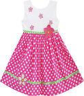 Sunny Fashion Girls Dress Pink Dot Flower Embroidered Sundress Size 2-6