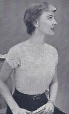 Vintage Crochet PATTERN Lace Summer Evening Blouse Short Sleeve Sweater CrochetS