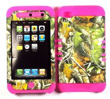 Hybrid Hard Cover Case + Apple iPod iTouch 4 Camo Mossy Green Leaves on Pink