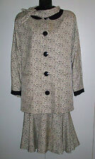 David Hayes Vintage Designer 4-pc Skirt Set 100% Silk Sz 10 Blk White Print Mint