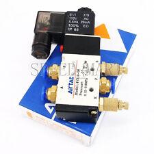 4V210-08 AC 110V Solenoid Pneumatic Valve 5 Port 2 Position & Connector Silencer