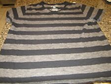Arizona V-Neck T-Shirt - Black/Brown Stripes - Large - 100% Cotton