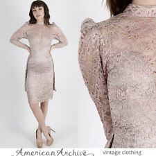 Vintage 70s Floral Lace Dress Wedding Cocktail Party Wiggle Nude Illusion Mini S