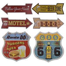 2x Retro Shield Metal Tin Signs Wall Art Plaque Decor Burger Beer Route 66