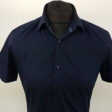 HUGO BOSS Mens Shirt 39 15.5 (SMALL) Short Sleeve Blue SLIM FIT Cotton