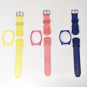 3 Genuine TechnoMarine Watch Silicone Gel Straps & Covers 17MM Yellow Blue Pink