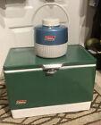 vintage 1980s green coleman metal ice chest cooler & Coleman 1Gal Blue Jug